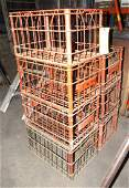 7 Vintage 1968 & 69 Farmland Wire Milk Crates