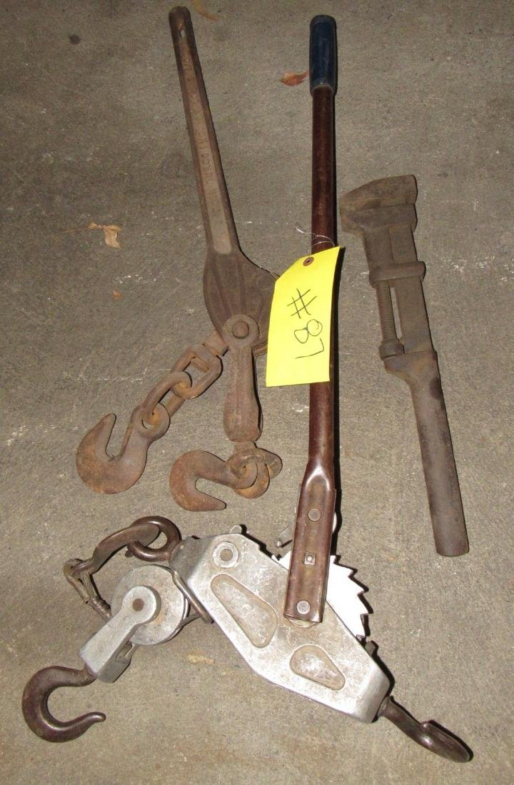 Lincoln Come a Long and Pipe Wrench Lot