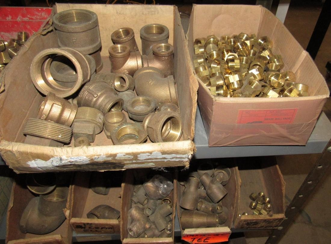 Large Lot of Brass Fittings Elbows Tee's Caps - 6