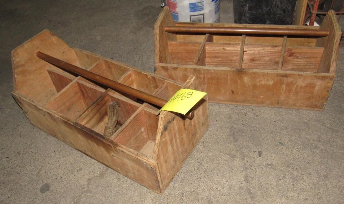 2 Wood Totes w/ Copper Handles