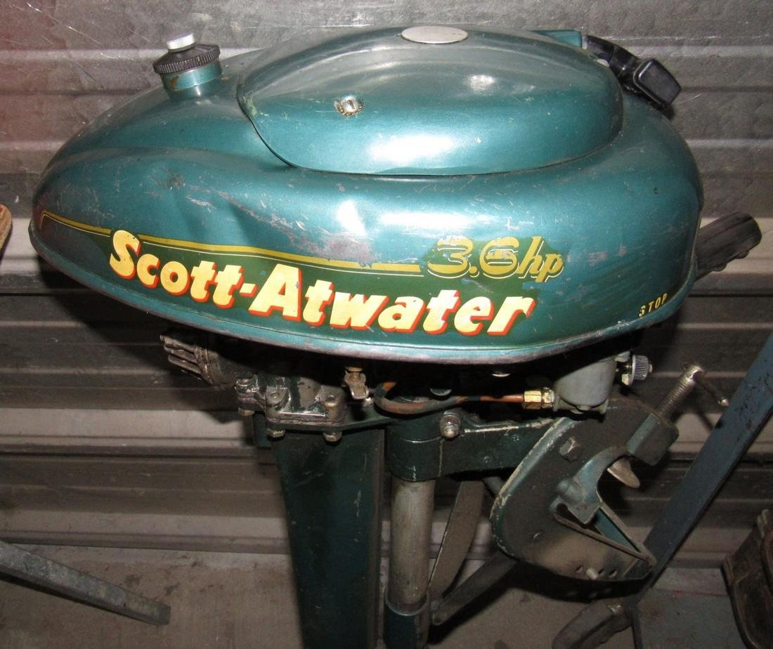 Vintage Scott Atwater 3.6hp Outboard Boat Motor - 2