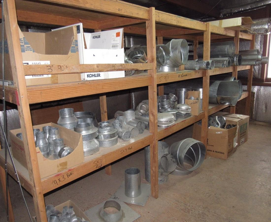 Duct Work Fittings Elbows Shelf Contents Lot