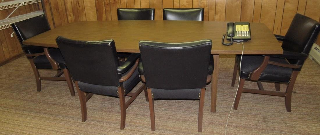 Vintage Bevis Conference Table & 6 Chairs