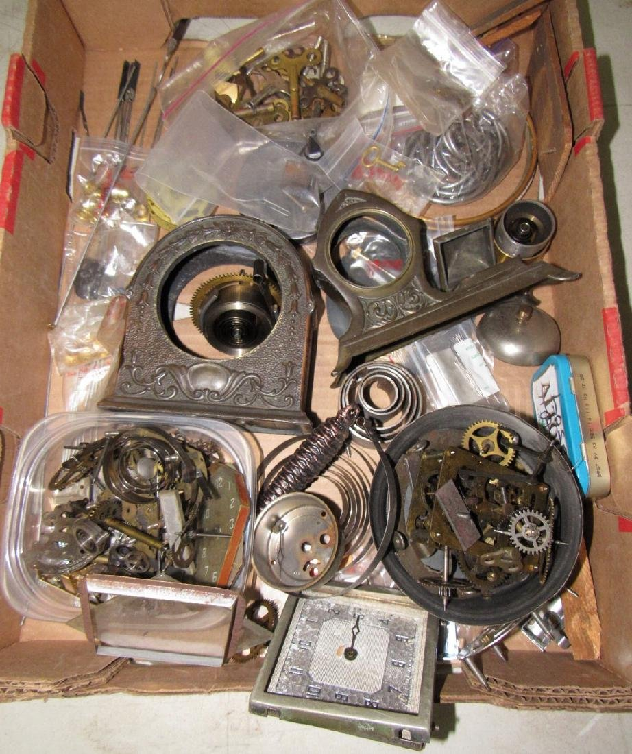 Clock Cases Movements Keys Weights Parts Lot