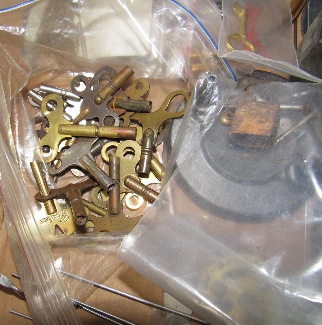 Clock Cases Movements Keys Weights Parts Lot - 2
