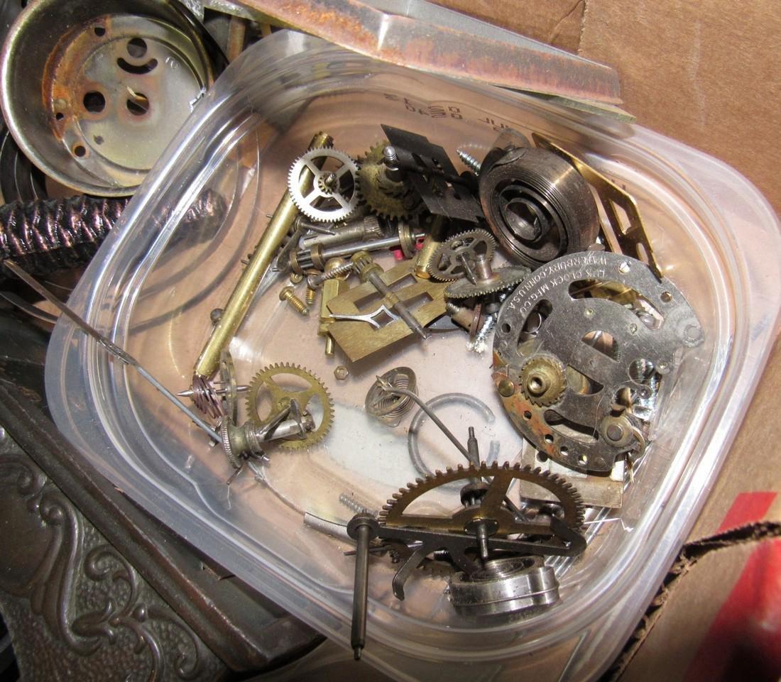 Clock Cases Movements Keys Weights Parts Lot - 4