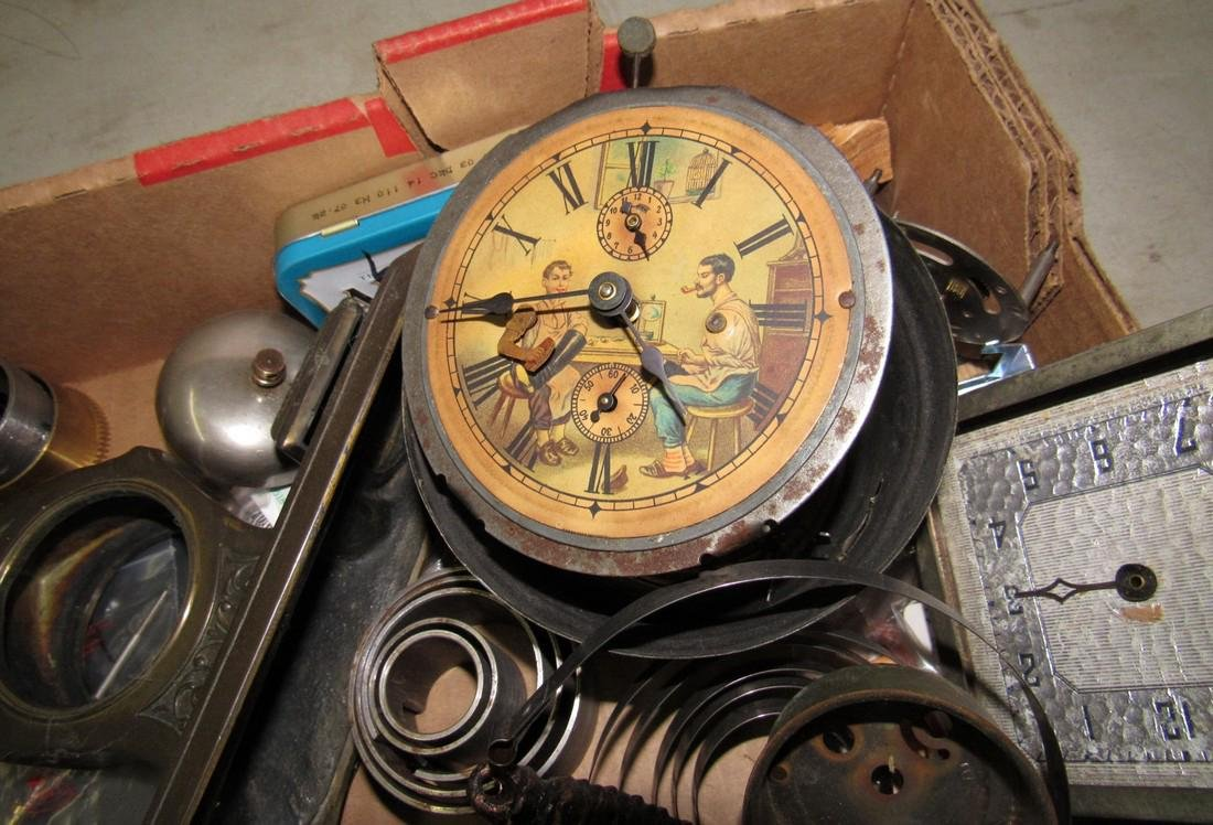 Clock Cases Movements Keys Weights Parts Lot - 5