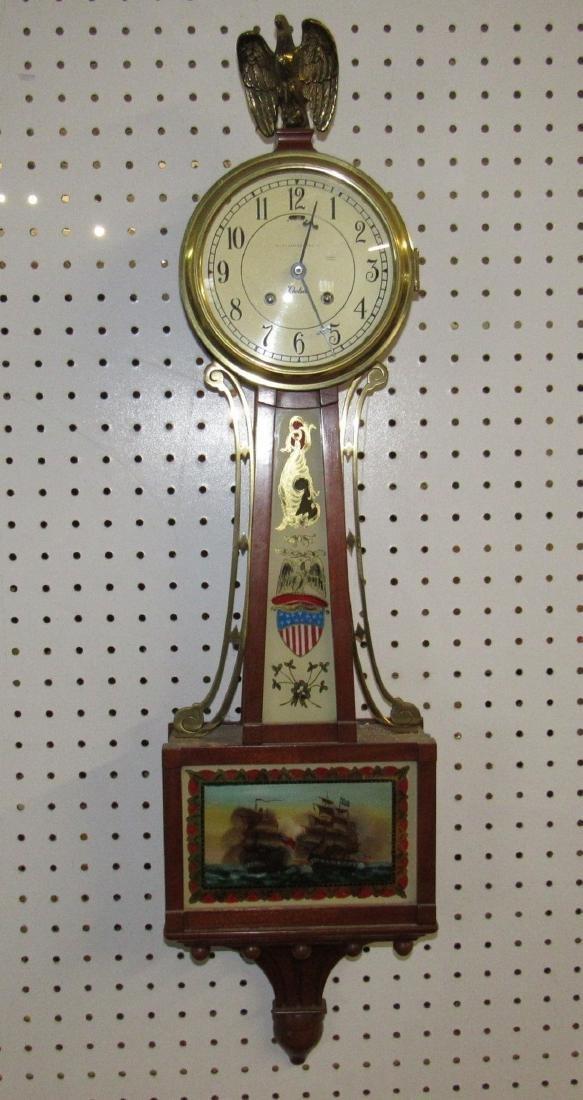 Baikey Banks & Biddle Banjo Clock Reverse Painted