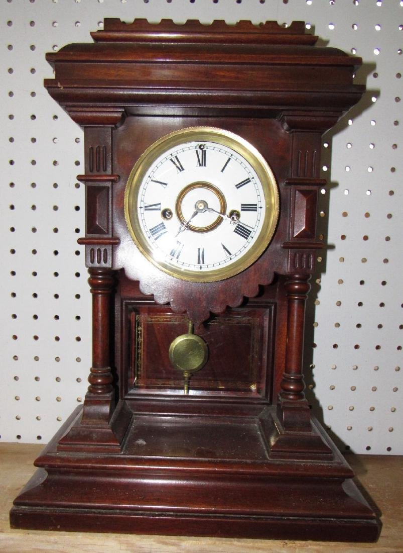 Welch Spring Mantle Clock w/ Porcelain Face