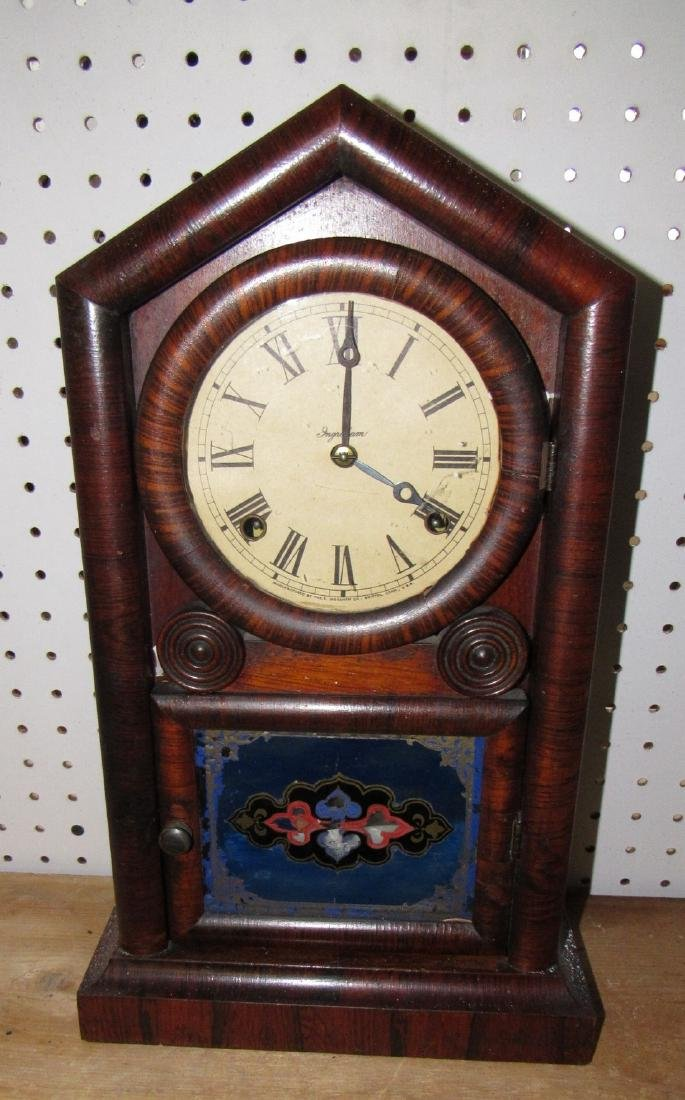 New Haven Packed Roof Shelf Clock 8 day