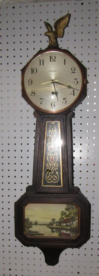 Waterbury Banjo Clock Willard No 12 Mohogany