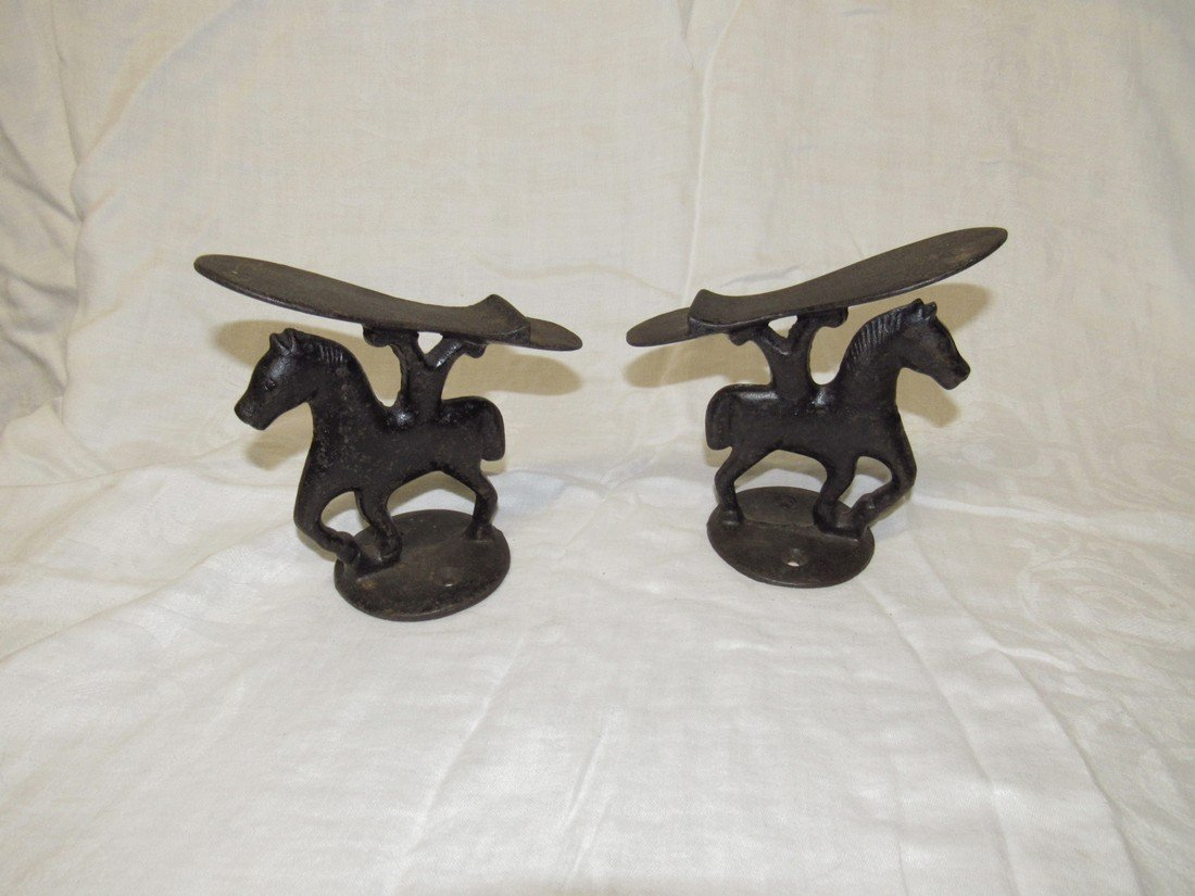 2 Cast Iron Horse Shoe Shine Stands