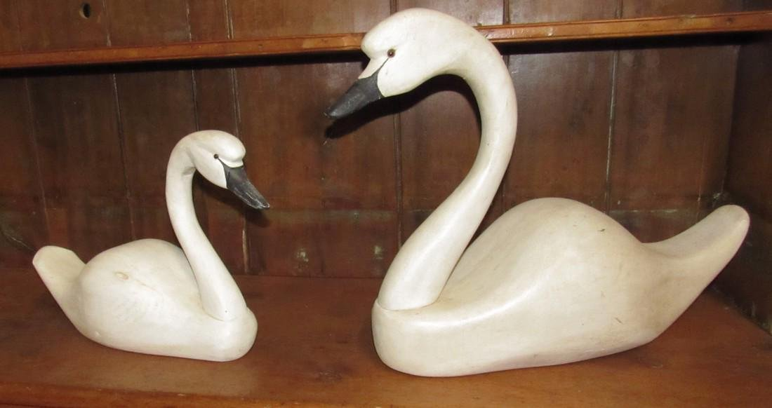 2 Wooden Carved Swans