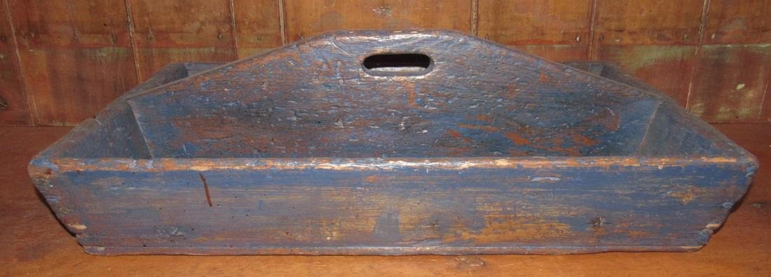 Blue Paint Wood Tote