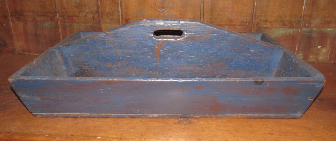 Blue Paint Wood Tote - 3