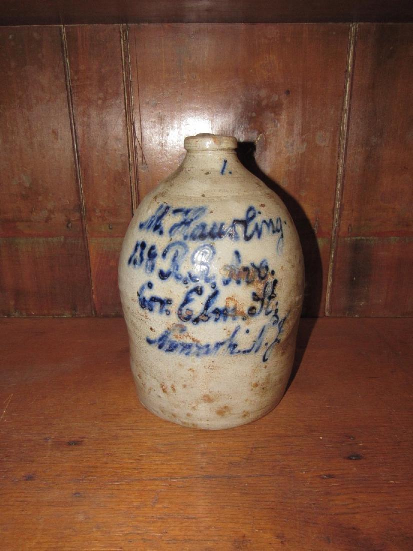 M Hausling Script Blue Decorated Jug Newark NJ