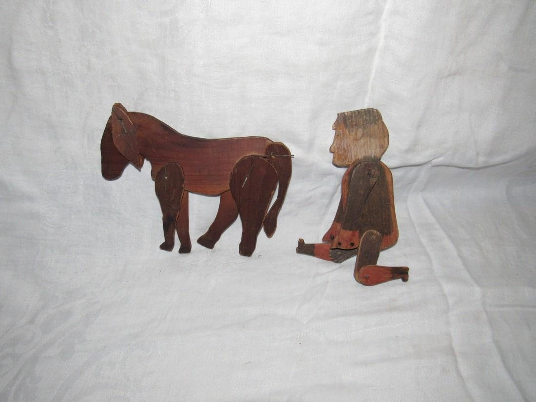 Folk Art Carved Horse & Man