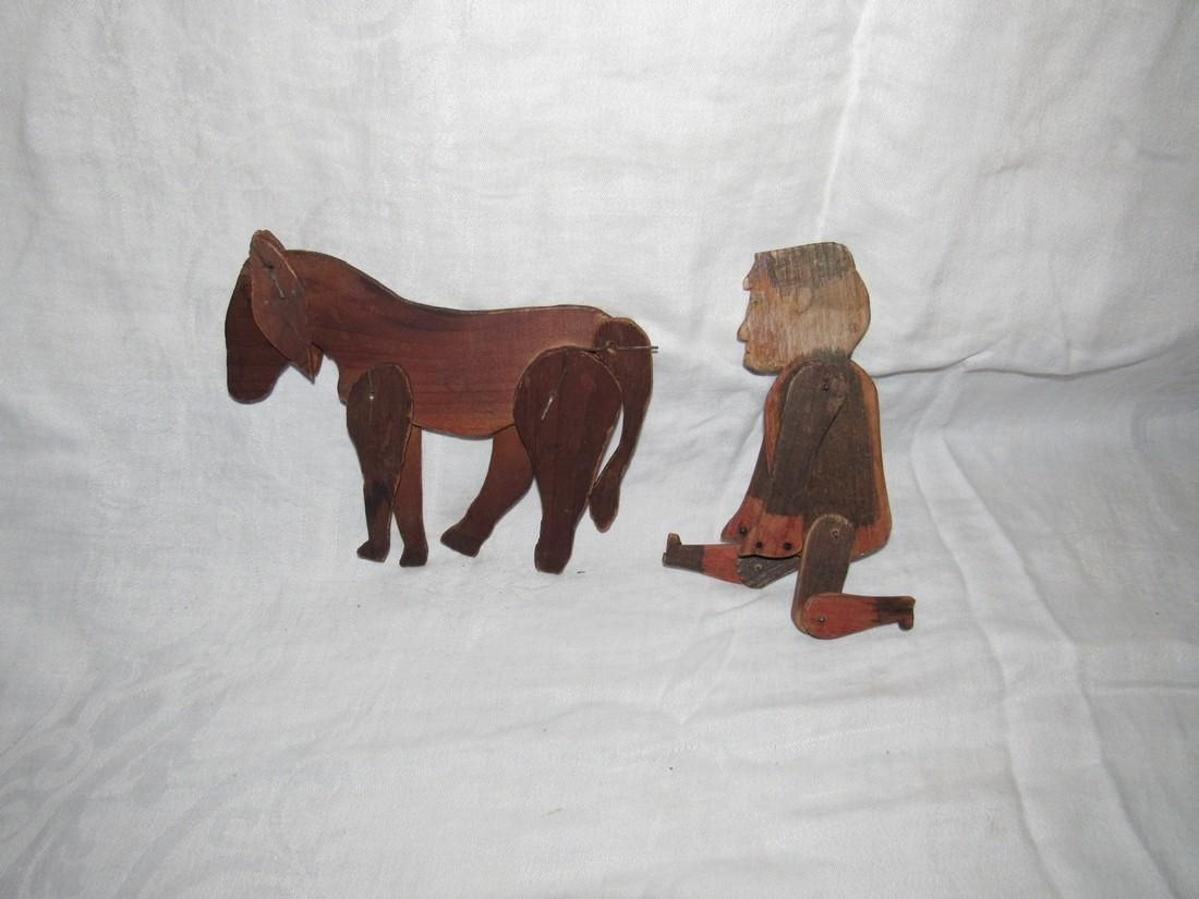 Folk Art Carved Horse & Man