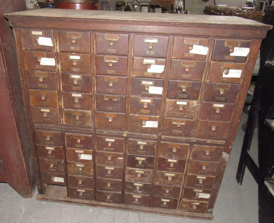 60 Drawer Oak File Cabinet