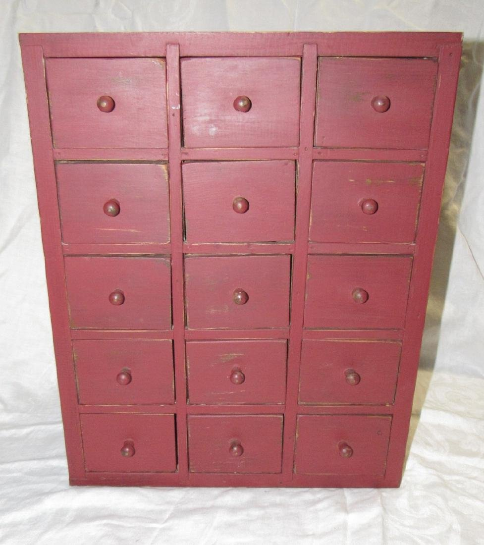 15 Drawer Red Painted Apothecary Chest
