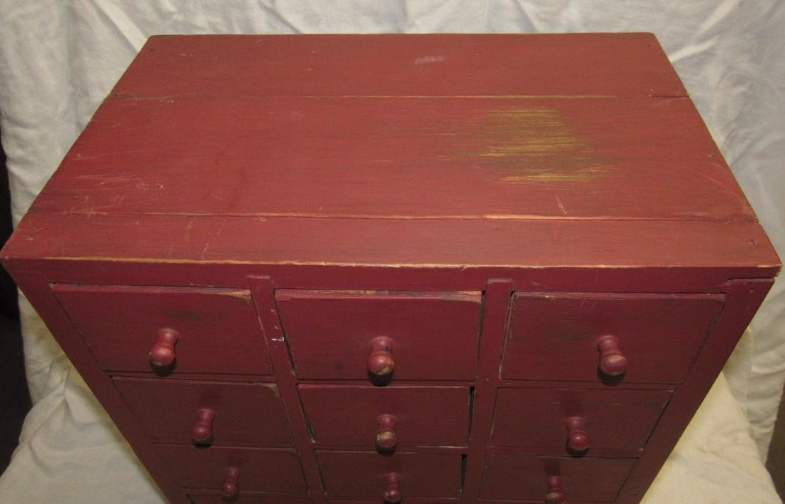 15 Drawer Red Painted Apothecary Chest - 2