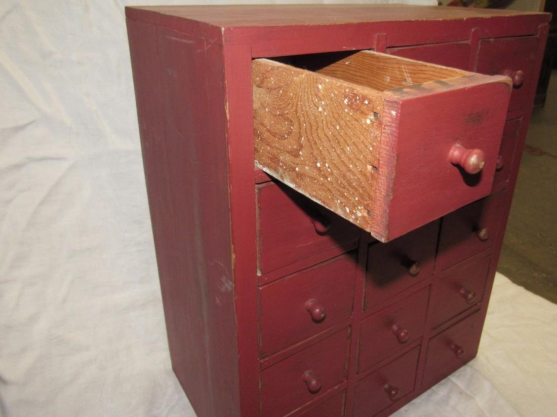 15 Drawer Red Painted Apothecary Chest - 3