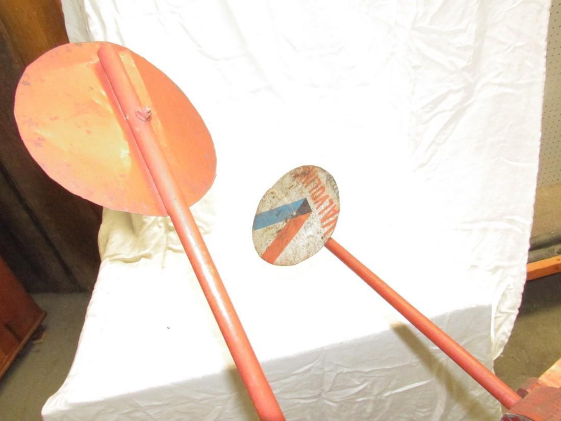 Folk Art Weathervane Whirly Gig w/ Industrial Base - 4