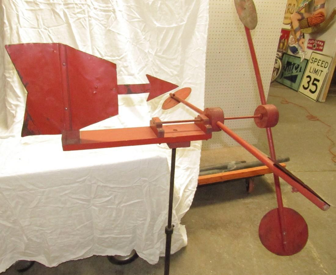 Folk Art Weathervane Whirly Gig w/ Industrial Base - 5