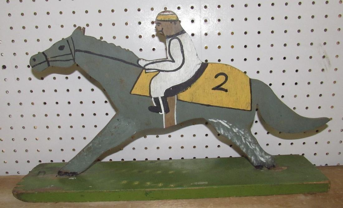Folk Art Wooden Race Horse & Jockey