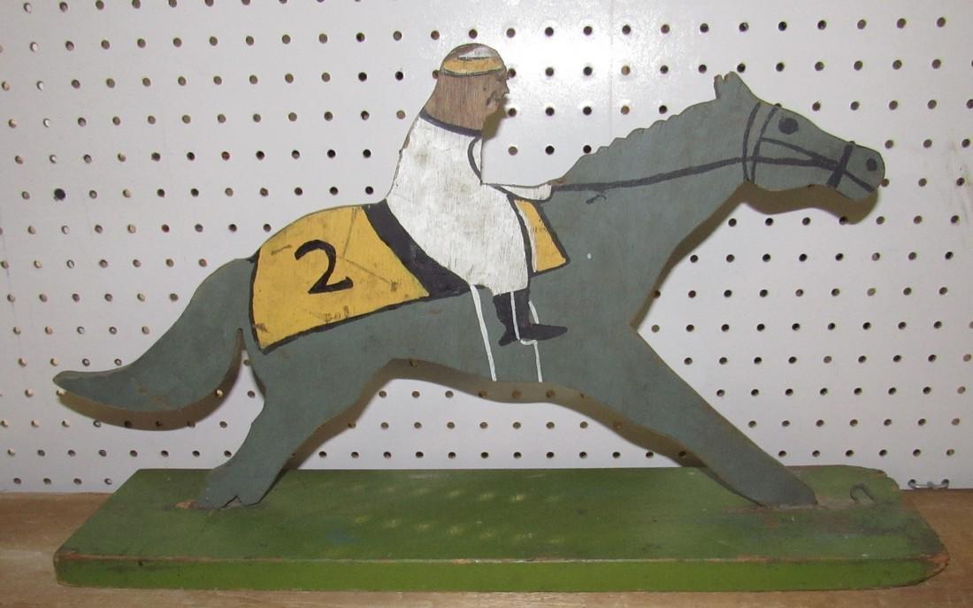 Folk Art Wooden Race Horse & Jockey - 2