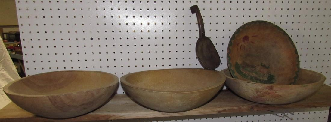 4 Wooden Mixing Bowls and Butter Ladle
