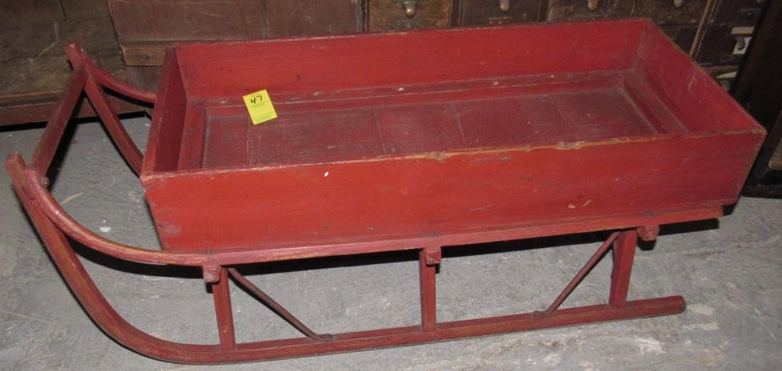 Early Red Painted Sleigh - 2