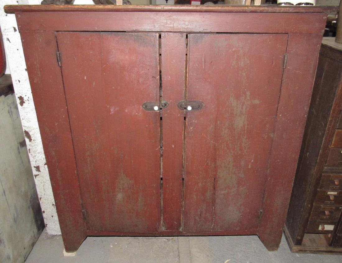 Nice 2 Door Cupboard in Original Red Paint