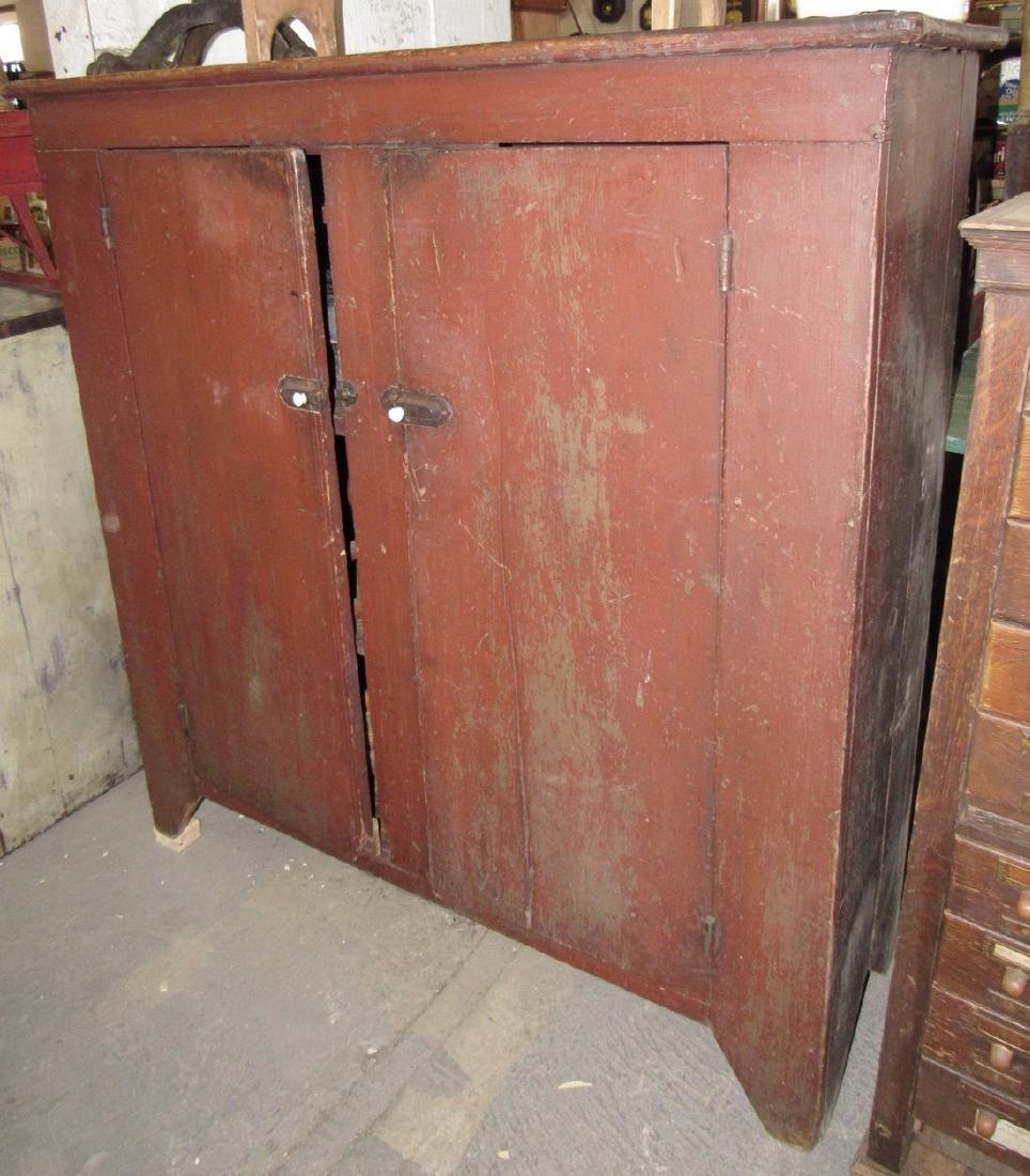 Nice 2 Door Cupboard in Original Red Paint - 2