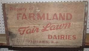 Farmland Dairies Fairlawn NJ Wooden Milk Crate