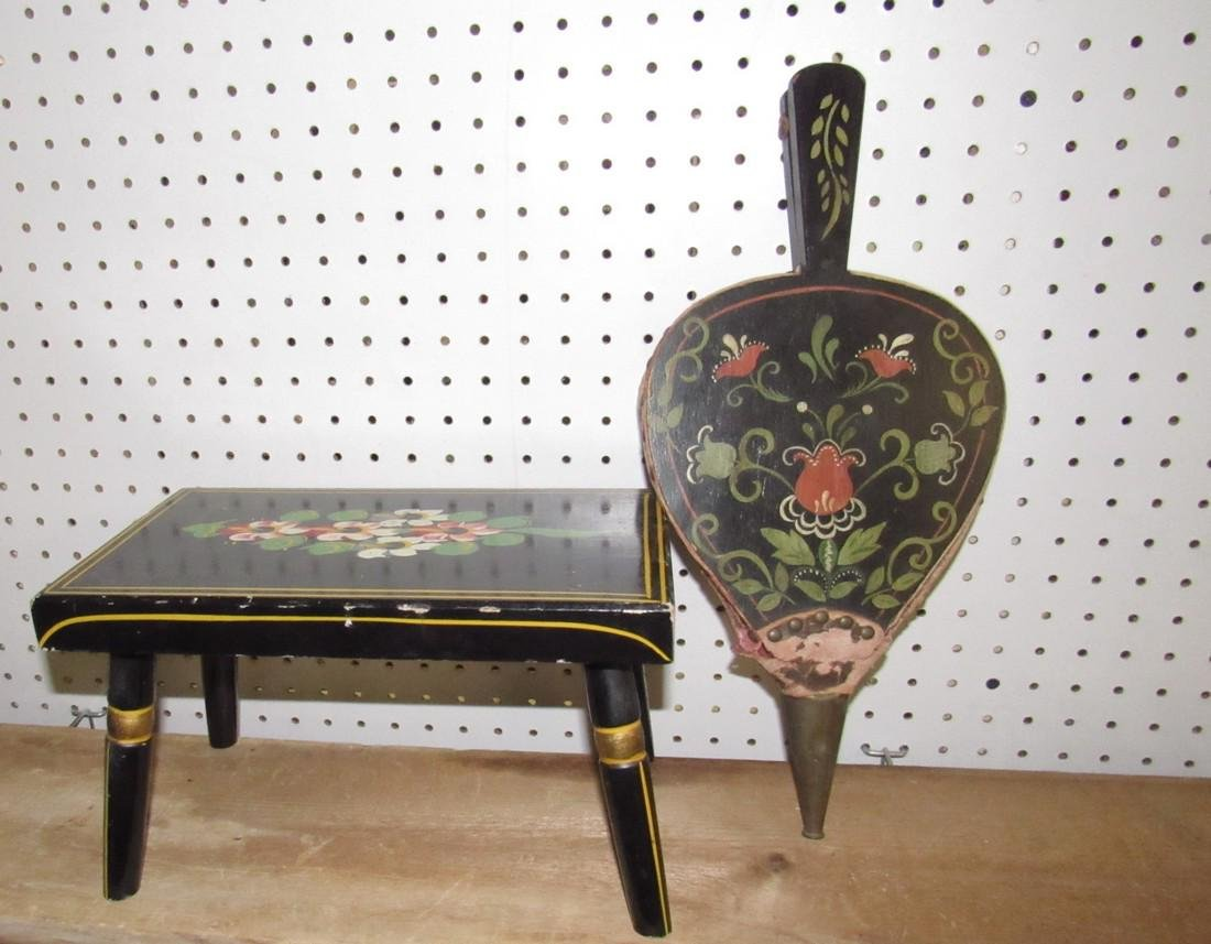 Paint Decorated Stool & Bellows