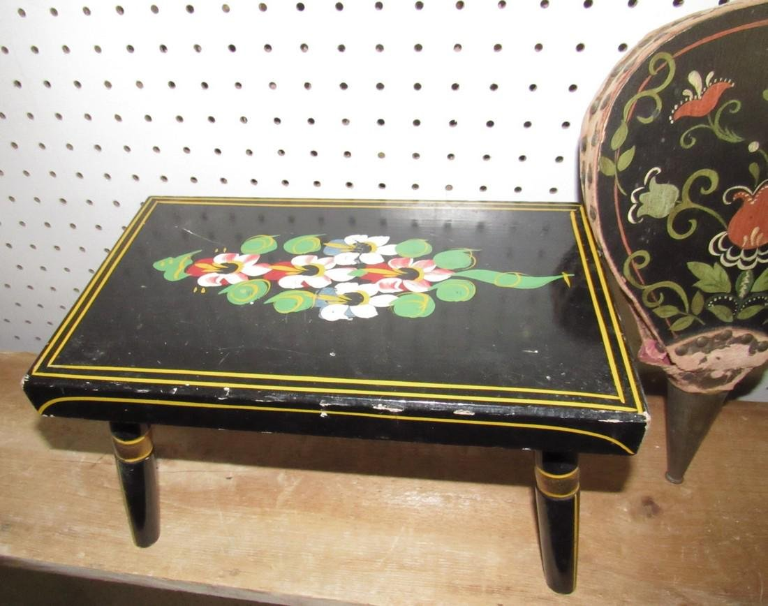 Paint Decorated Stool & Bellows - 2