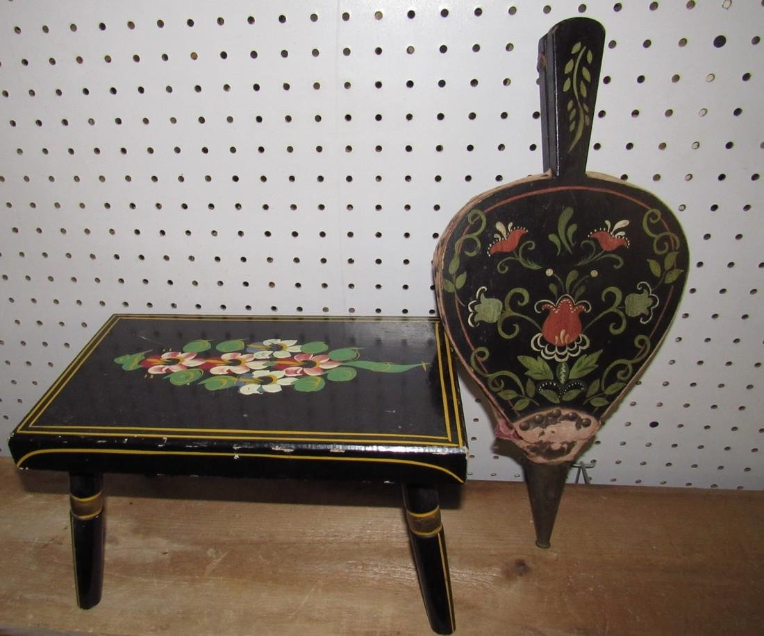 Paint Decorated Stool & Bellows - 3