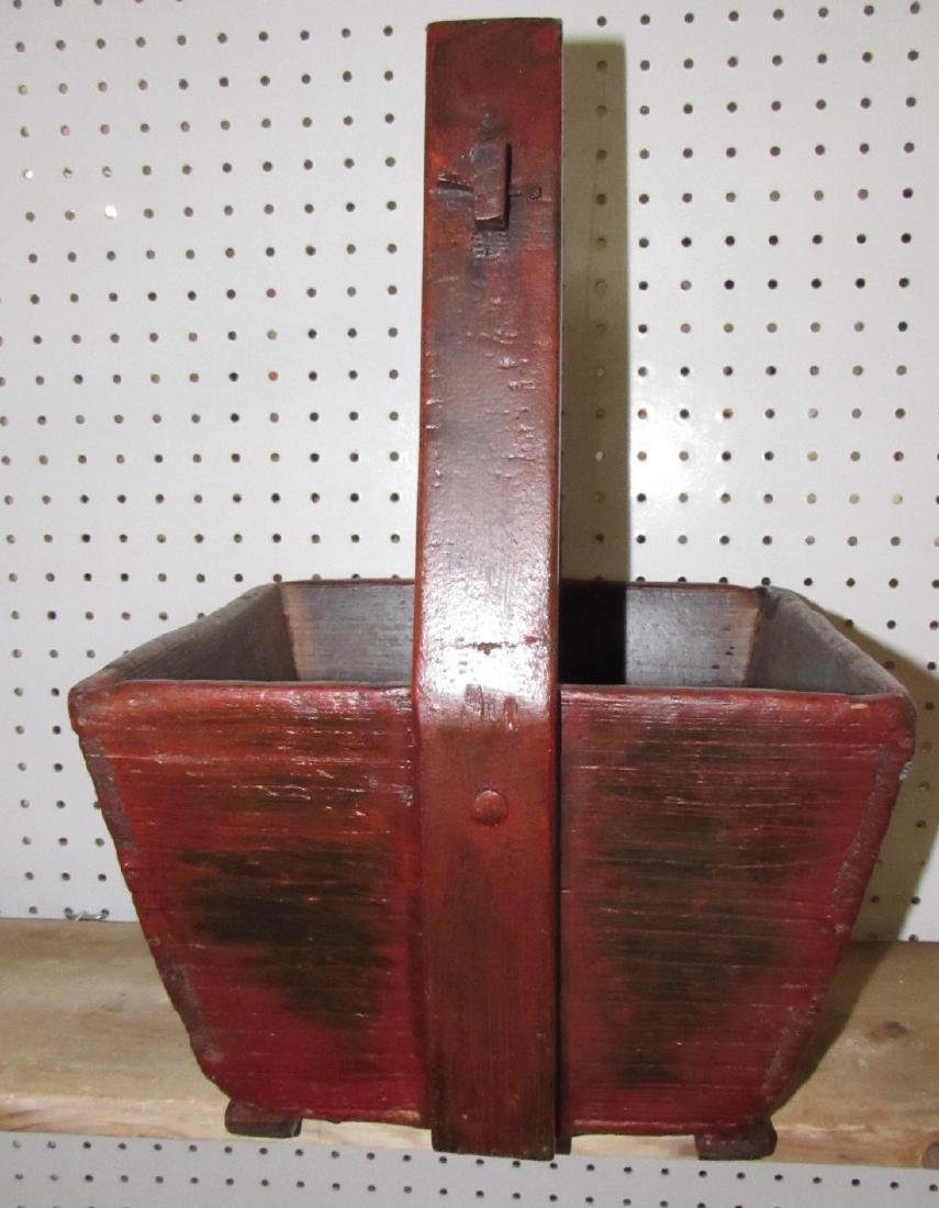 Red Painted Wooden Bucket - 2