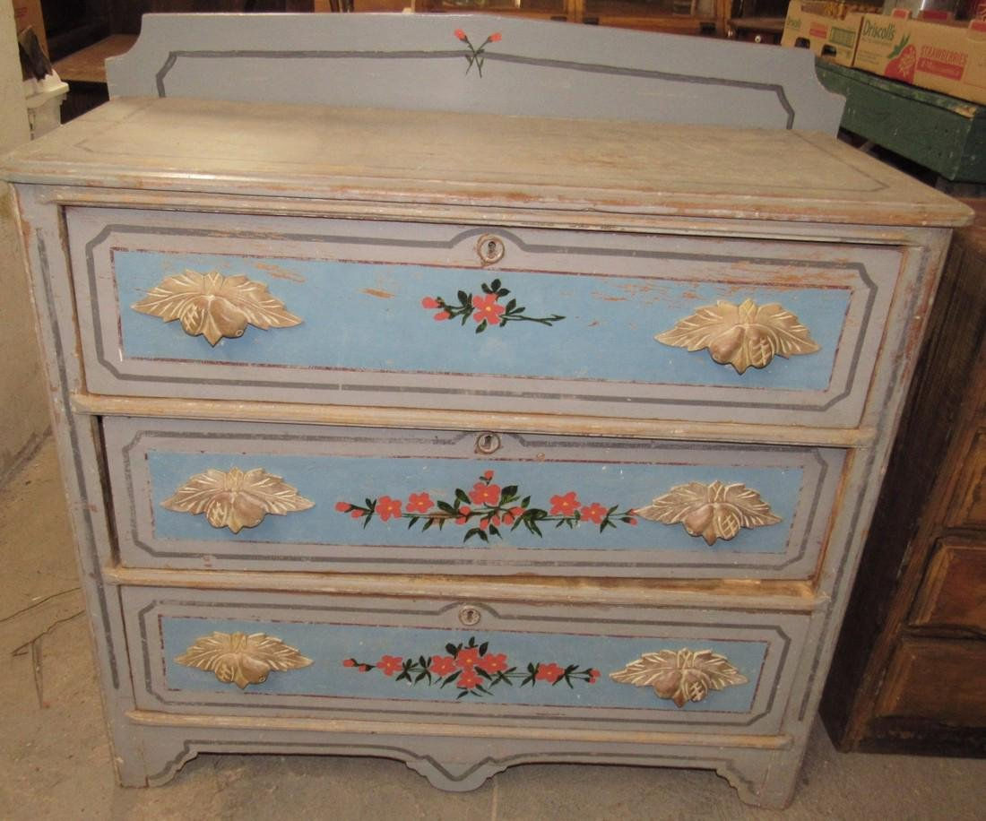 Paint Decorated 3 Drawer Cottage Dresser