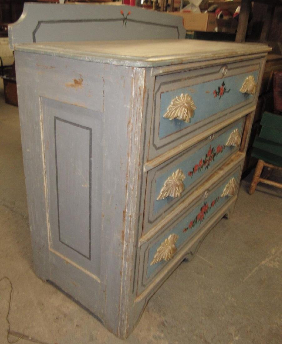 Paint Decorated 3 Drawer Cottage Dresser - 2