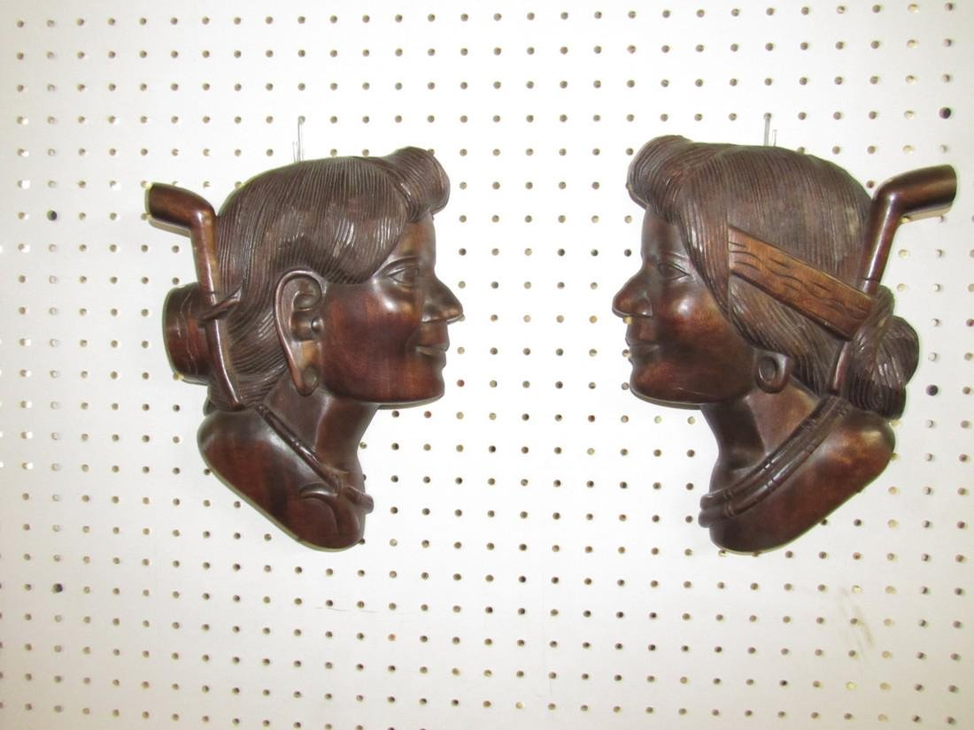 2 Wooden Carved Walnut Wall Plaques