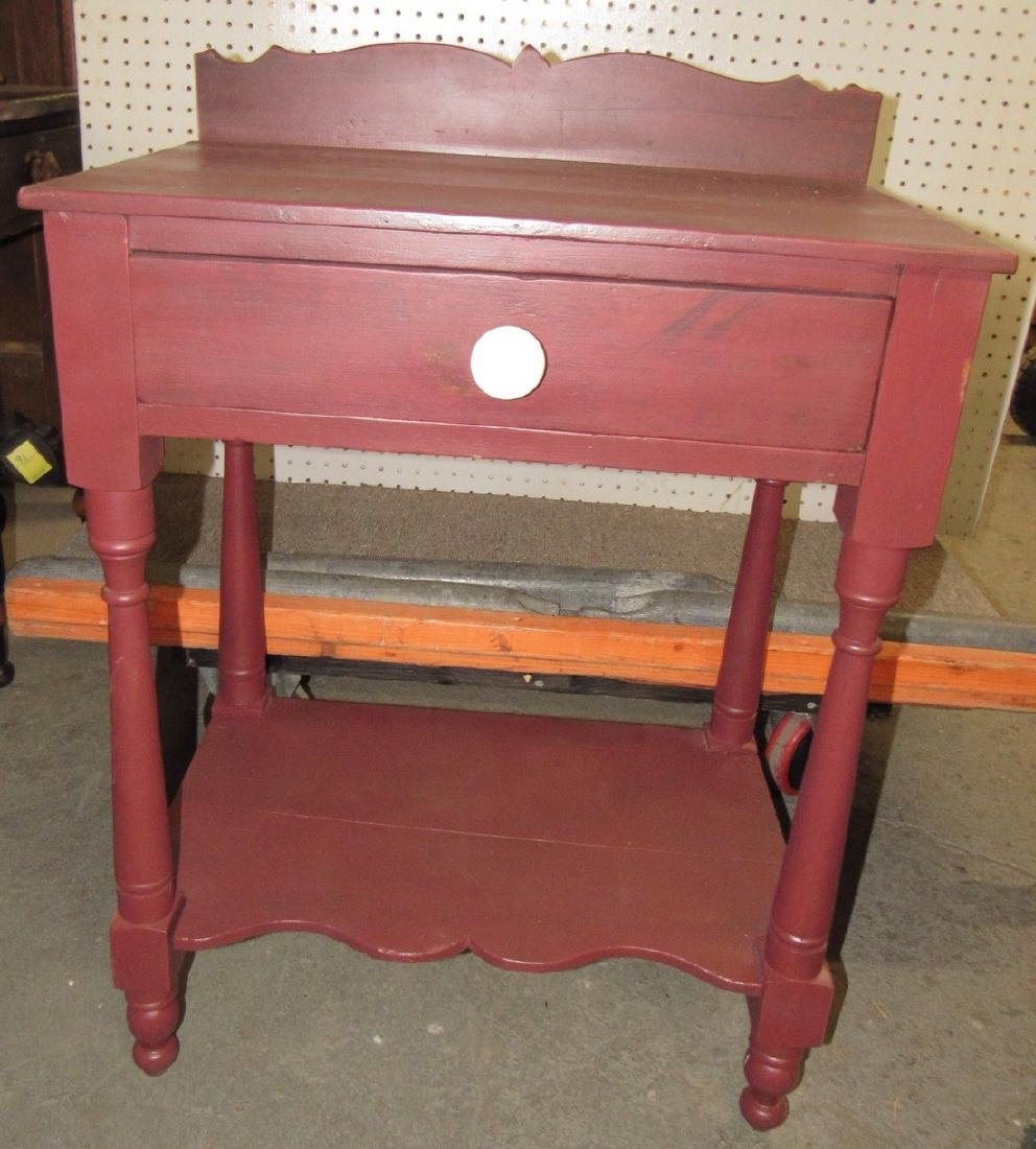 Red Painted One Drawer Stand