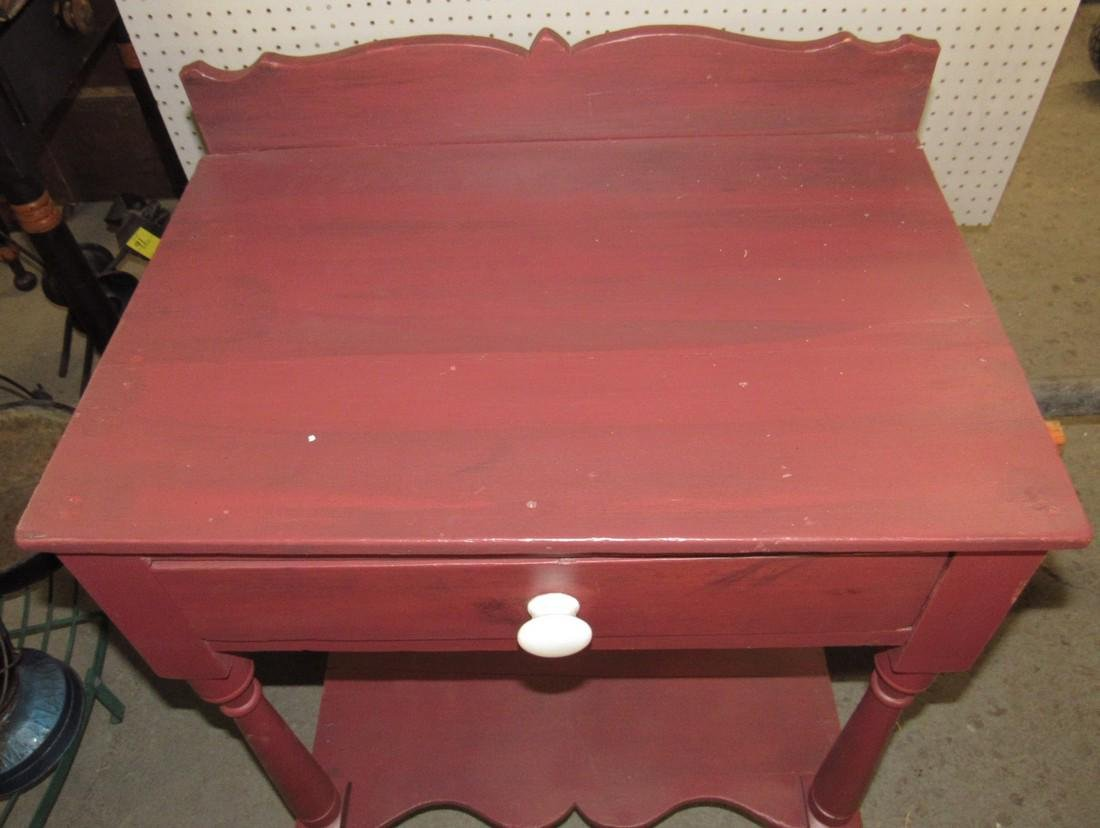 Red Painted One Drawer Stand - 2