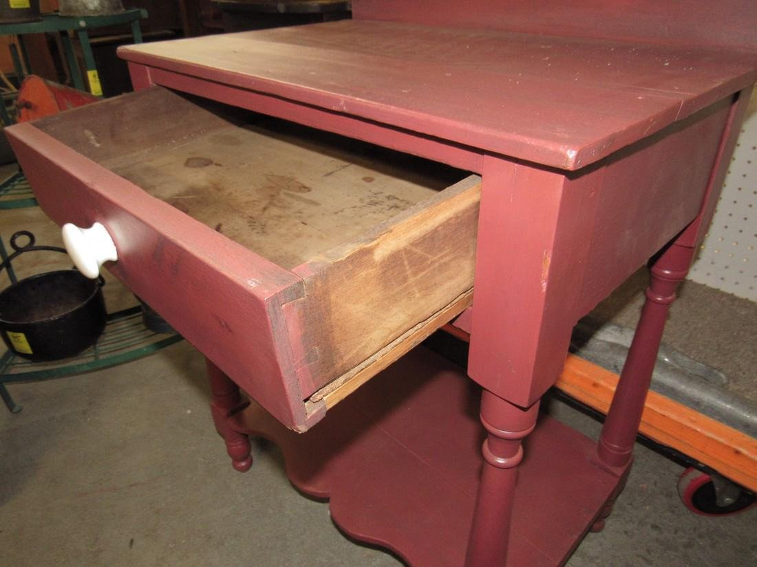 Red Painted One Drawer Stand - 3