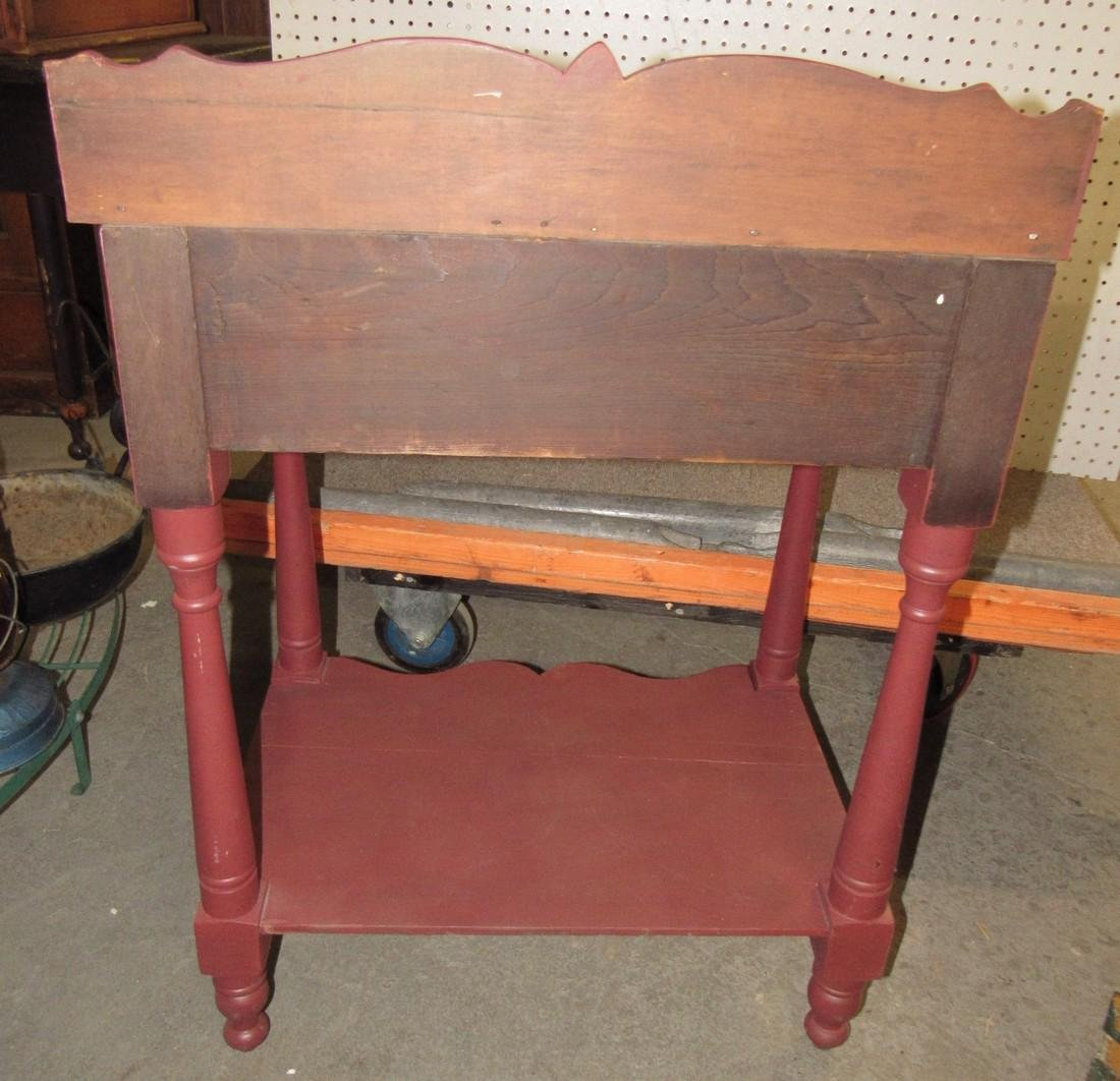 Red Painted One Drawer Stand - 4