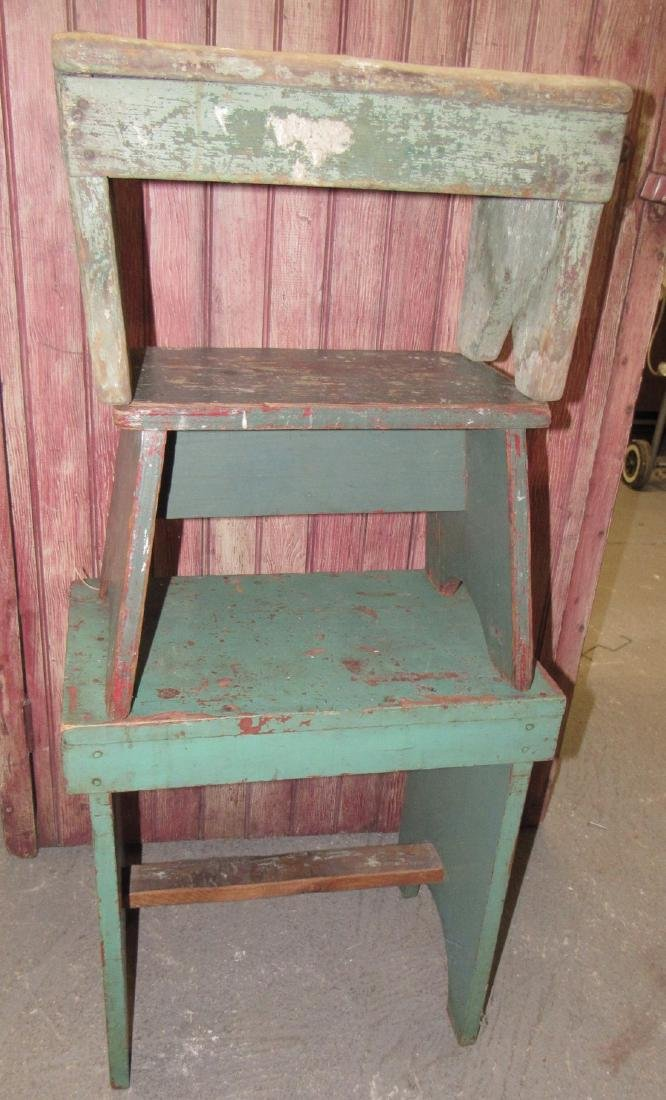 3 Green Painted Stools