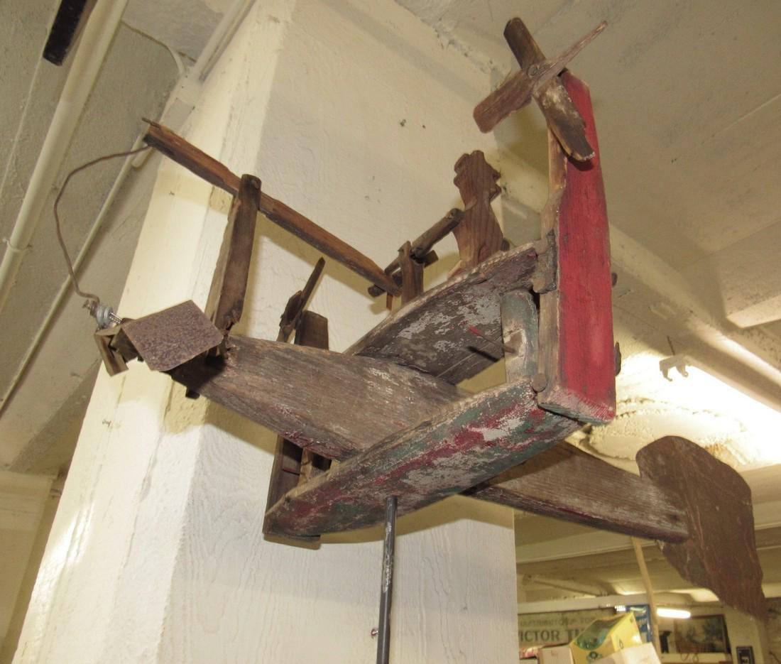 Folk Art Airplane Whirly Gig - 3