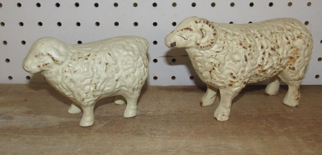 2 Cast Iron Sheep