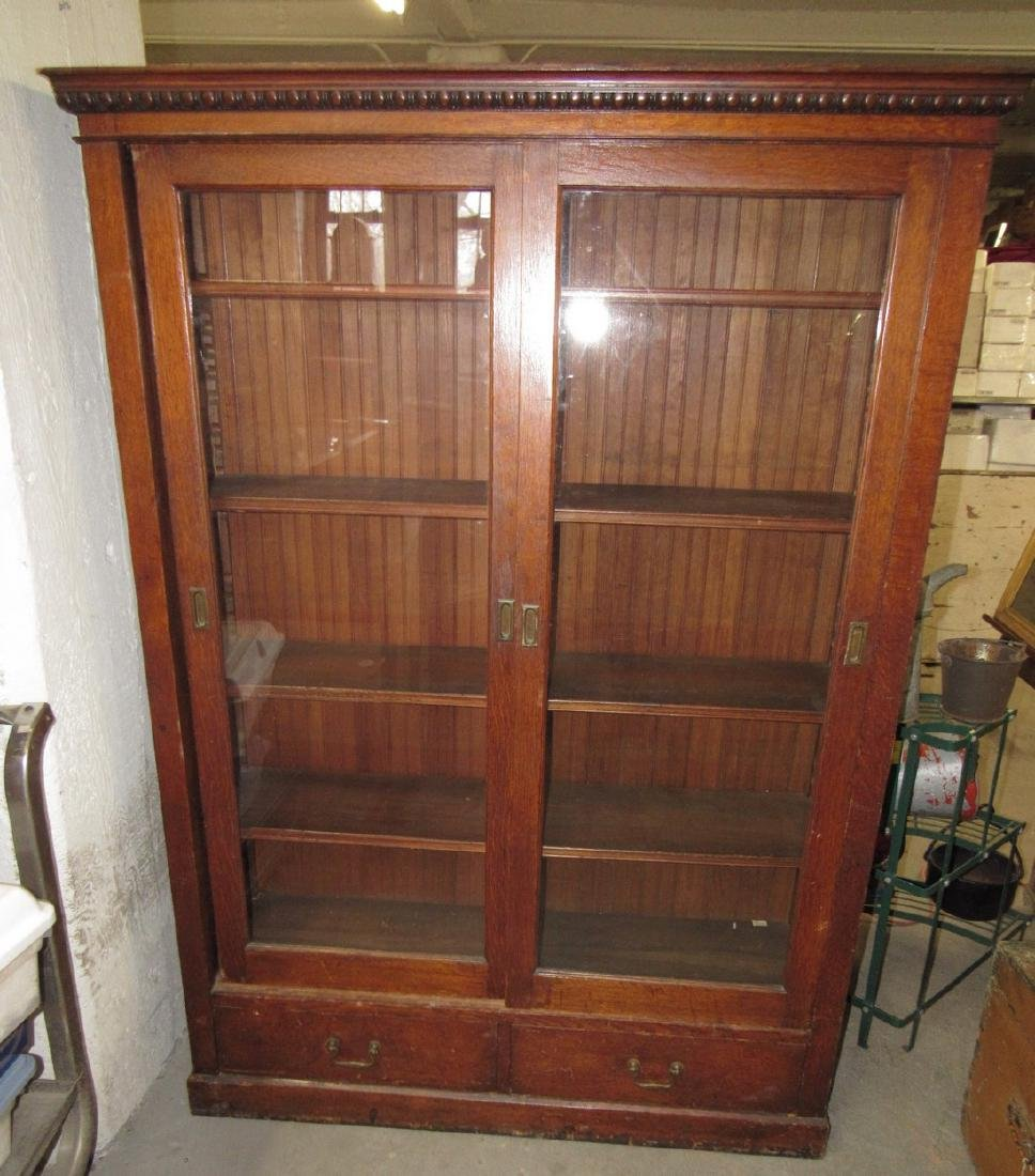 Sliding Door Oak Lawyers Bookcase